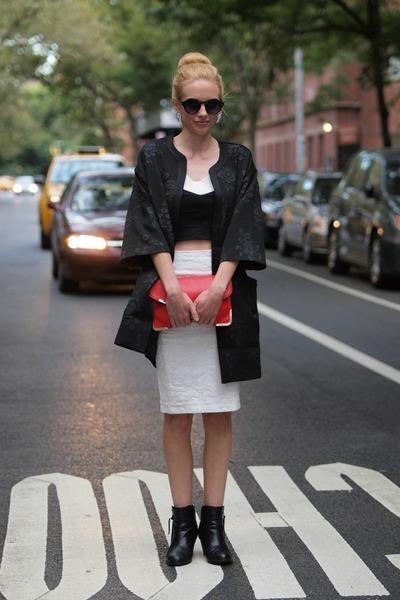 black cotton on boots - black coocon H&M coat - red clutch Colette bag