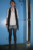 white Forever 21 shirt - black top to bottom vest - blue shorts - black tights -