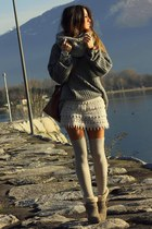 gray maxi knit Nasty Gal sweater - heather gray grey manas boots