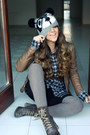 Dark-brown-smalto-boots-black-cotton-bershka-hat-dark-gray-casual-rare-shirt