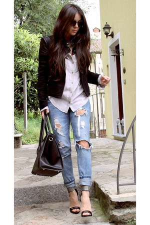 blue boyfriend jeans Zara jeans - heather gray cotton hollister shirt