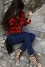 Navy-skinny-jeans-guess-jeans-ruby-red-tartan-luisaviaroma-shirt