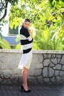 White-celine-zara-skirt-black-stripes-zara-jumper-black-suede-zara-heels