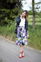 leather Zara jacket - 255 Chanel bag - asos skirt - Zara heels