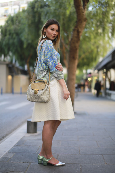 white hm skirt - aquamarine asos shoes - nude Chloe bag