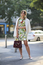 white Zara jacket - chartreuse Dolce & Gabbana dress - maroon vintage bag