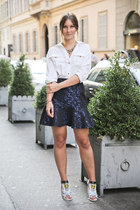 navy jacquard asos skirt - white white blouse hm blouse