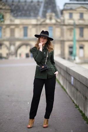 dark green blazer - black hat - black bag - black pants