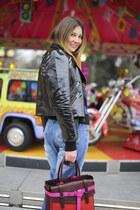 red boxer Reed Krakoff bag - blue ripped asos jeans - black biker asos jacket