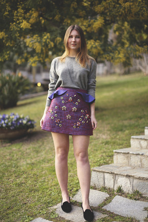 purple embellished Three Floor skirt - charcoal gray Ralph Lauren jumper