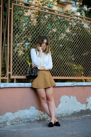 bronze American Apparel skirt - white Zara shirt - black Salvatore Ferragamo bag