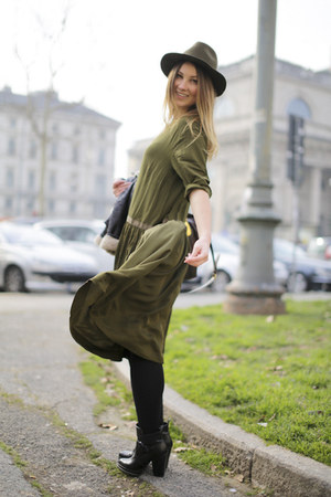 olive green asos dress - black Zara boots - olive green Zara hat