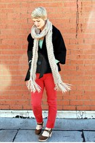 Forever 21 coat - Forever 21 sweater - Forever 21 scarf - American Eagle pants