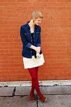 off white handmade skirt - navy chambray shirt Forever 21 shirt
