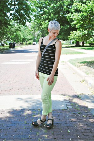 lime green neon American Eagle pants - striped Forever 21 shirt
