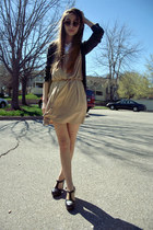 Forever 21 dress - Forever 21 sunglasses - Forever 21 clogs - Forever 21 cardiga
