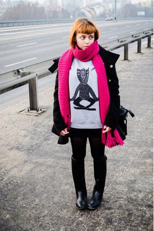 H&M scarf - Mango coat - cat dzieńdobry blouse