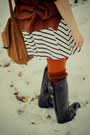 White-striped-h-m-dress-black-cavalliero-boots-tawny-kaphahl-sweater