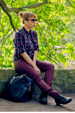 deep purple plaid H&M shirt - crimson reserved pants
