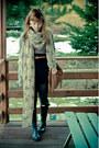 Black-hunter-shoes-beige-owls-new-yorker-scarf-bronze-reserved-bag