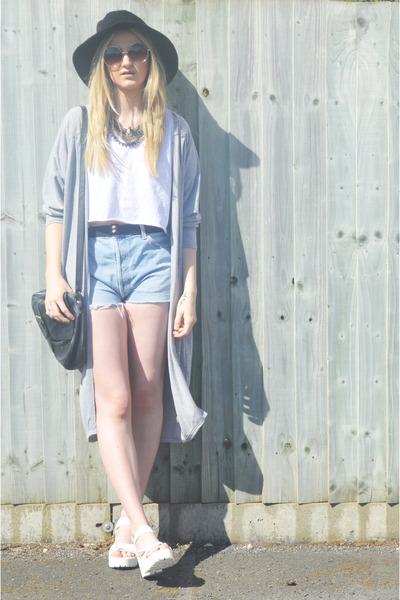 white chunky Ebay sandals - black floppy Kangol hat - black leather TK Maxx bag