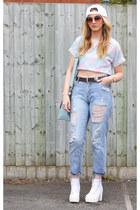 ivory canvas Ebay boots - sky blue boyfriend Forever 21 jeans - white Ebay hat