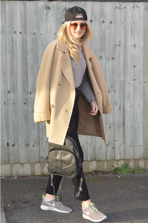 camel thrifted coat - black Ebay jeans - black H&M hat - black Ebay bag