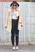 black diy Ebay jeans - camel thrifted coat - black Kangol hat
