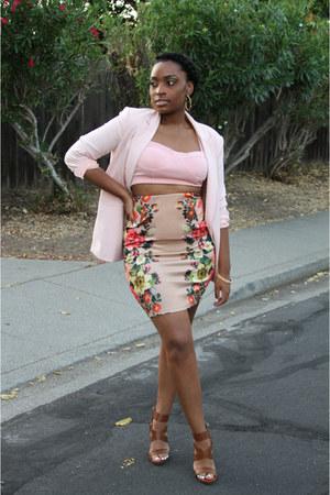 light pink Forever 21 blazer - nude Forever 21 skirt
