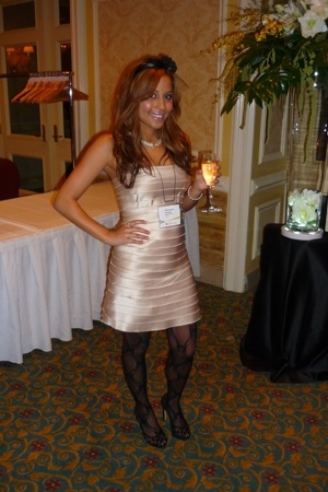 Aldo accessories - Aldo tights - BCBG dress - Tiffany necklace - JLo shoes