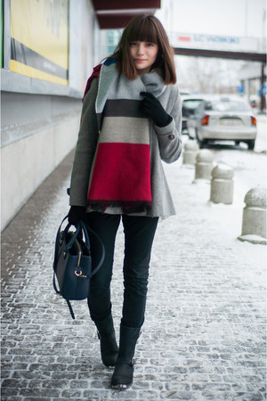 heather gray Zara coat - black Zara jeans - brick red Sheinside sweater