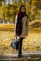 eggshell Zara coat - black pull&bear boots - black Zara jeans - red Zara scarf