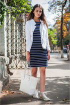 white Kapalua jacket - navy Ostin dress - white Mango bag