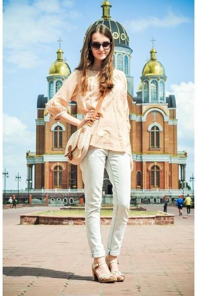 Zara jeans - jennyfer shirt - Promod bag - H&M sunglasses - Aldo sandals