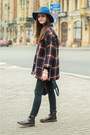 crimson checkered romwe coat - crimson brogues pull&bear boots