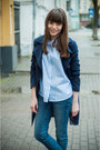 Navy-h-m-coat-blue-bershka-jeans-periwinkle-sheinside-shirt-black-zara-bag