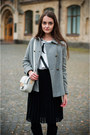 Black-pull-bear-boots-heather-gray-zara-coat-silver-h-m-bag-white-zara-top