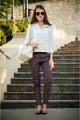 White-sheinside-shirt-white-mango-bag-charcoal-gray-parfois-sunglasses