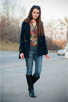 red Sheinside shirt - black pull&bear boots - navy pull&bear coat