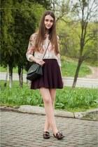 pink Sheinside shirt - black Stradivarius bag - crimson Bershka skirt