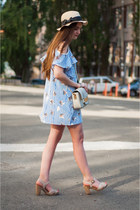 off white shoulder bag H&M bag - blue off shoulder romwe dress