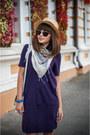 Purple-burberry-dress-silver-h-m-bag-charcoal-gray-parfois-sunglasses