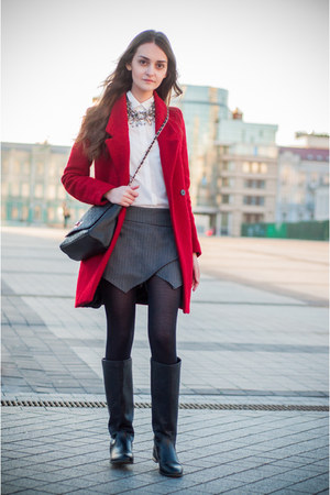red Zara coat - black pull&bear boots - white Zara shirt