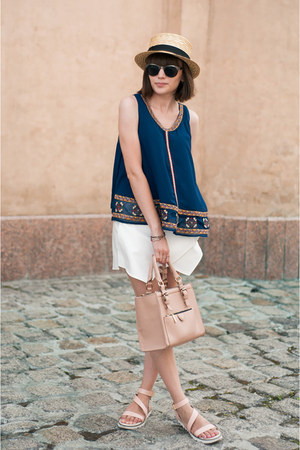 navy tank top Sheinside top - mustard straw hat unknown brand hat