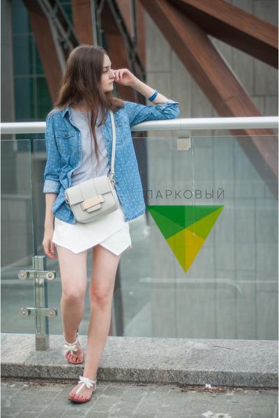 white Zara shorts - blue pull&bear shirt - silver H&M bag - white Zara sandals