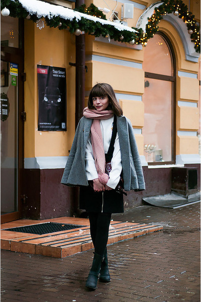 black leather poustovit for braska boots - charcoal gray wool Zara coat