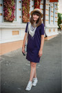 Purple-burberry-dress-silver-h-m-bag-charcoal-gray-parfois-sunglasses