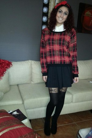Wanted boots - chiffon Ally blouse - black cotton asoscom skirt