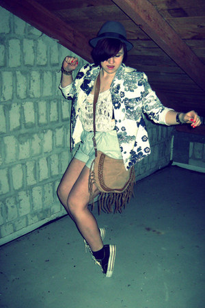 vintage jacket - new look shorts - H&M top