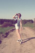 light blue Gap shorts - black H&M top